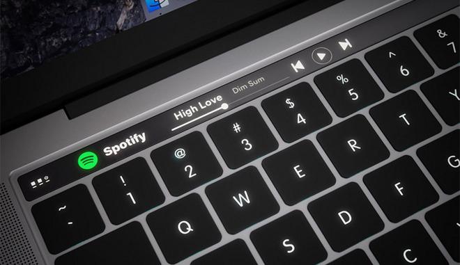 So sieht die Apple Touch Bar mit Spotify aus!