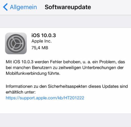 """Das Update ist im Menü direkt unter """"Allgemein -> Softwareupdate"""" zu finden. Bild: Screeenshot"""