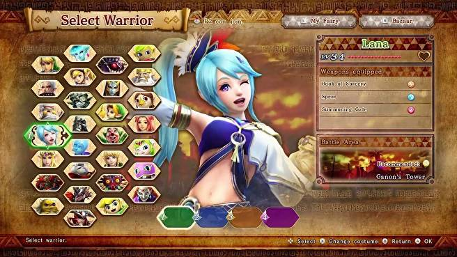 Hyrule Warriors Character Select